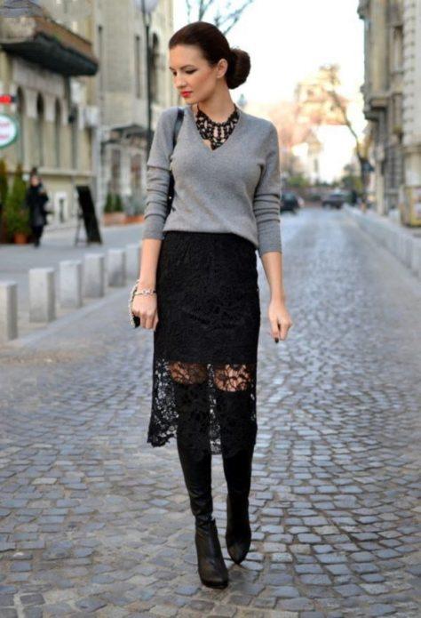кружевная юбка и ботильоны