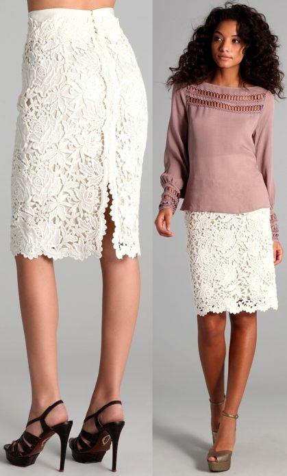 кружевная юбка розовая блуза