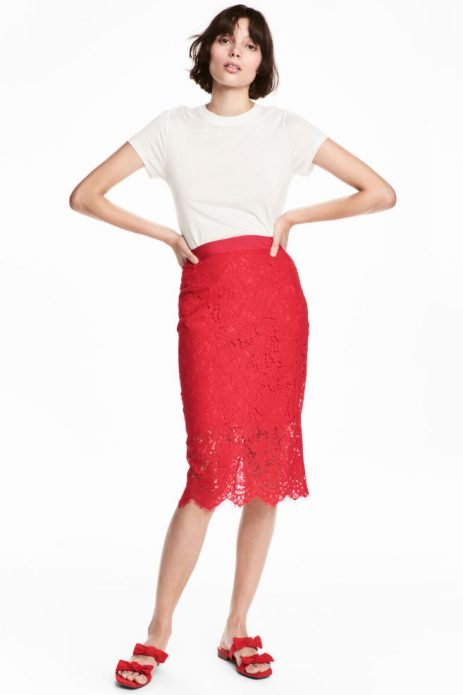 кружевная юбка томатная