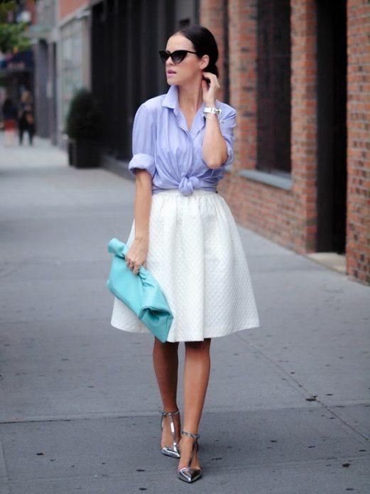 кружевная юбка и легкая рубашка