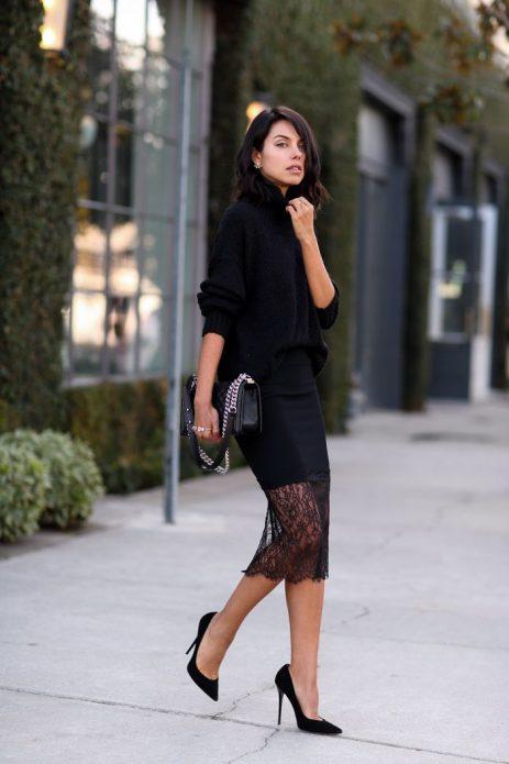 кружевная юбка и свитер крупной вязки