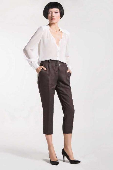 льняные брюки коричневые