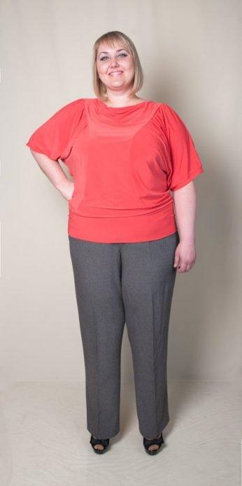 льняные брюки на полных с трикотажем