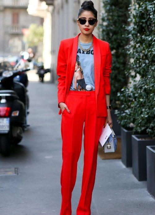 льняные брюки красные