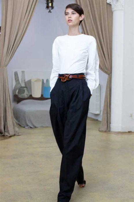 черные льняные брюки образ