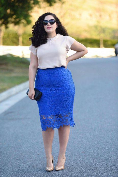 синяя юбка на полных