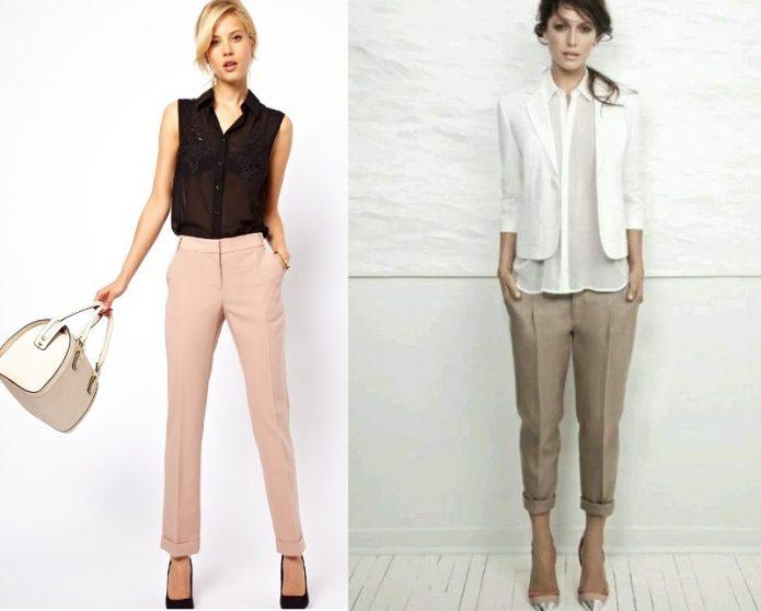 светлые льняные брюки образ