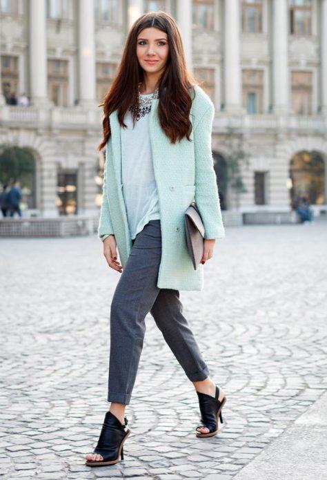 сине-серые брюки образ