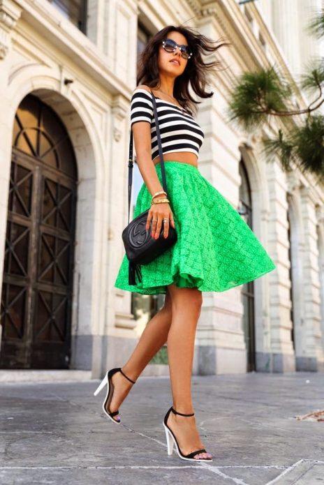 зеленая кружевная юбка