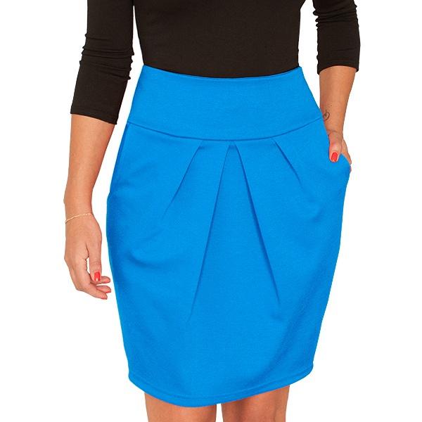 Синяя юбка тюльпан и черная кофта с рукавом