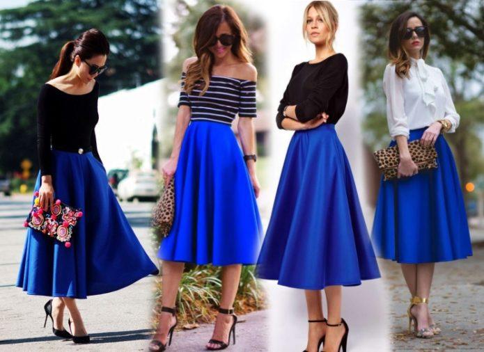 Образы с синей юбкой солнце миди