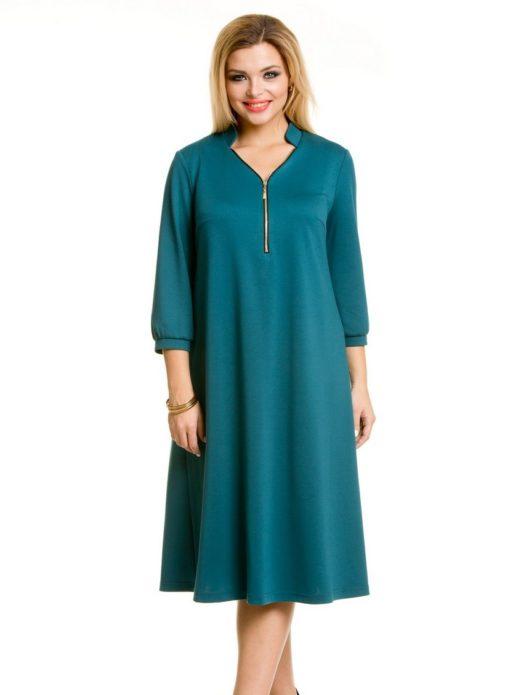 Бирюзовое деловое платье для полной женщины