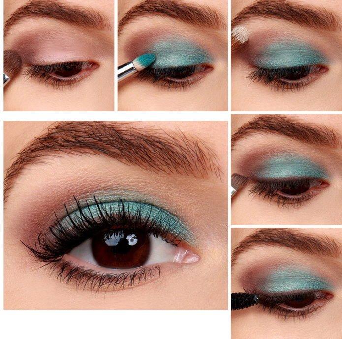 Бирюзовые тени макияж