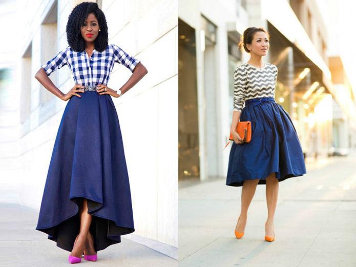 Образы с синей юбкой миди и макси