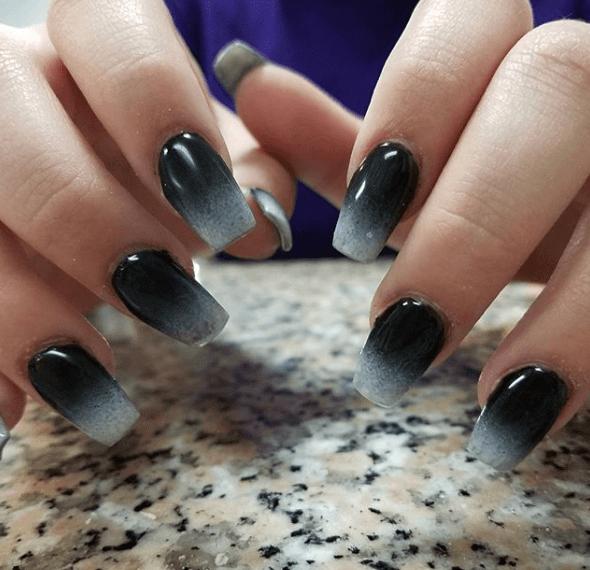 Черно-белый маникюр градиент