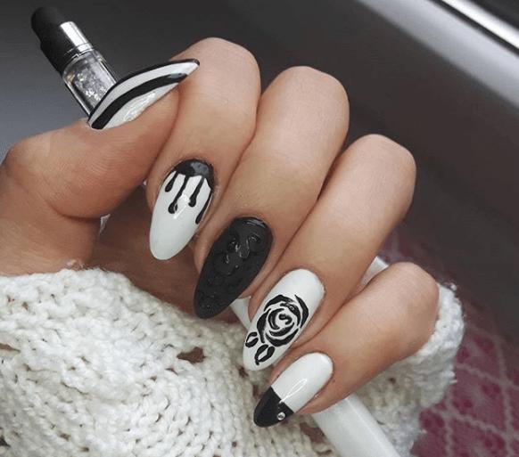 Черно-белый маникюр с дизайном розы и капли