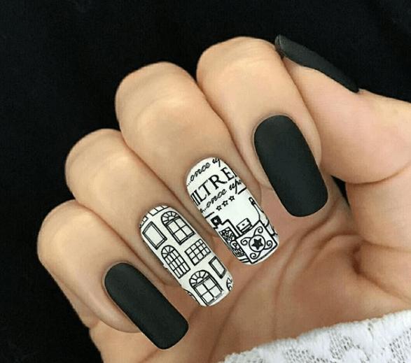 Черно-белый маникюр с дизайном
