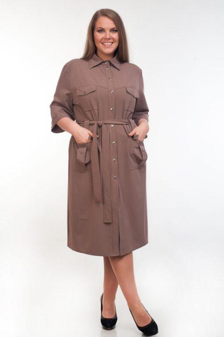 Деловое платье-сафари для полной женщины