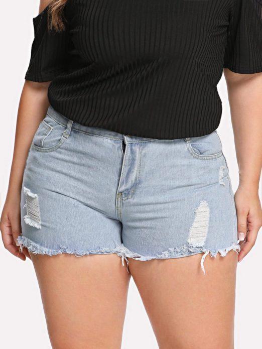 Джинсовые летние шорты для полной женщины