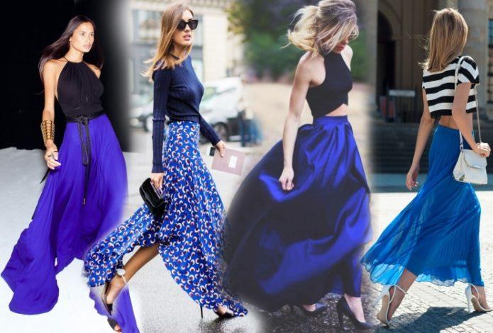 Образы с длинной синей юбкой