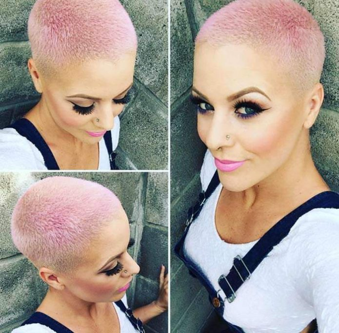 ежик женская розовые волосы