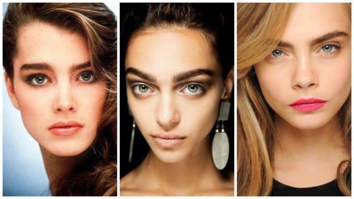 Геометрические брови в греческом макияже