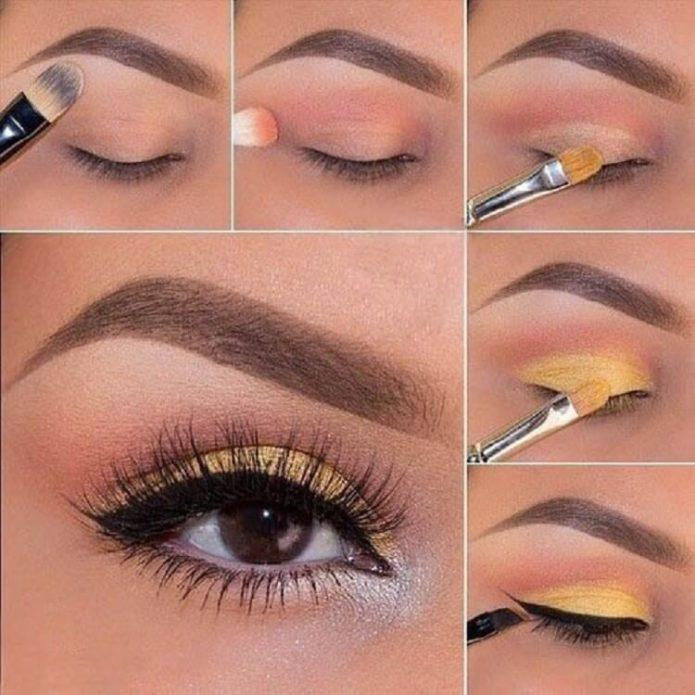 макияж дневной для карих глаз