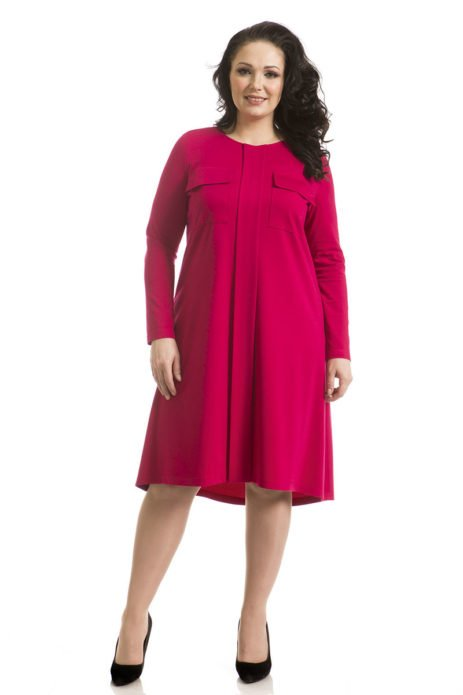 Малиновое деловое платье для полной женщины