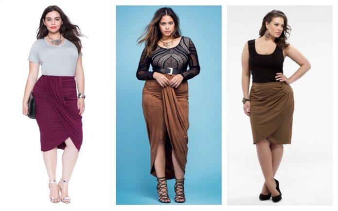 Модели юбок для полных женщин с драпировкой на уровне бедер и пояса