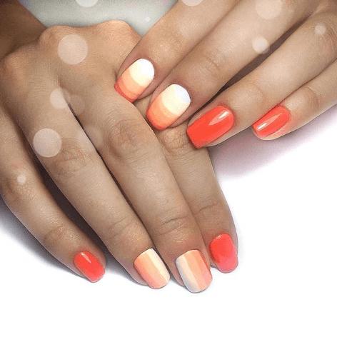 Оранжево-белый маникюр с переходом цветов