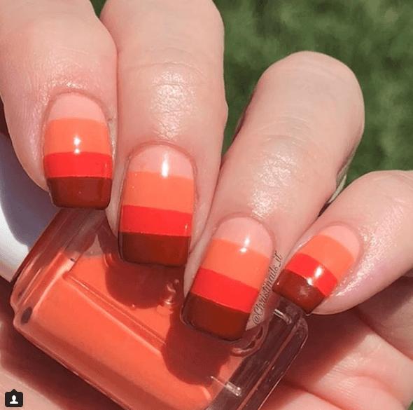 Оранжевый маникюр в четыре цвета