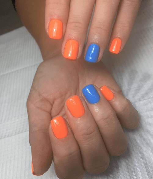 Оранжевый маниюкр с синим