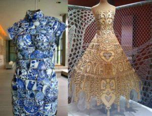 Платье из фарфора и наряд из дерева