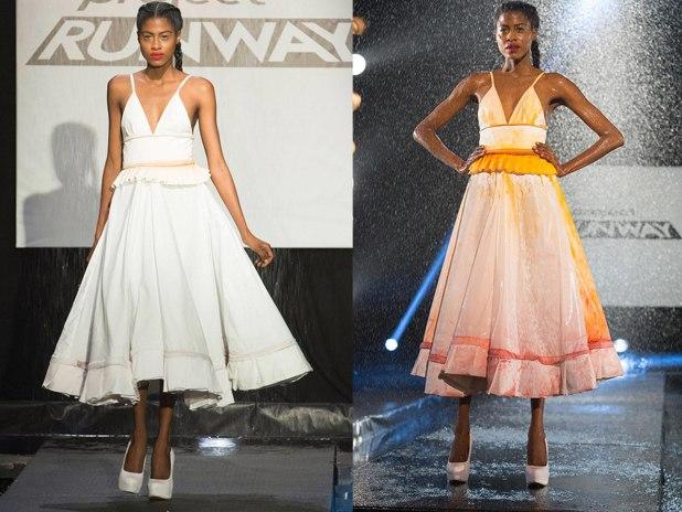 Белое платье, меняющее цвет