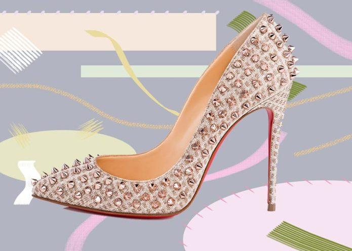 Туфли на высоком каблуке, украшенные шипами
