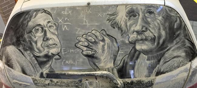 Картина на грязном стекле автомашины