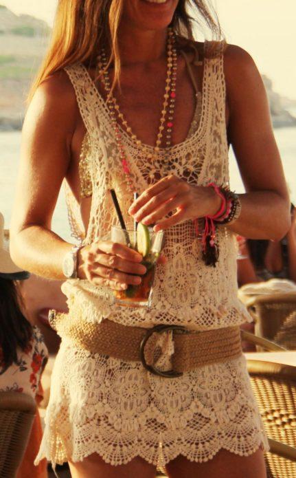 Платье бохо с набедренным ремнем