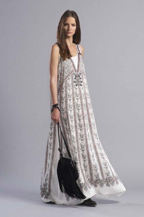 Платье бохо в пол с кожаной сумкой