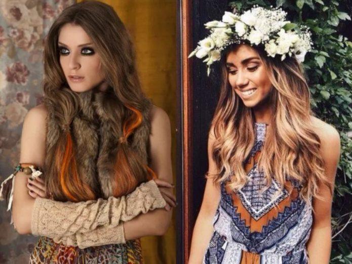 Девушка в меховой жилетке и девушка в цветах
