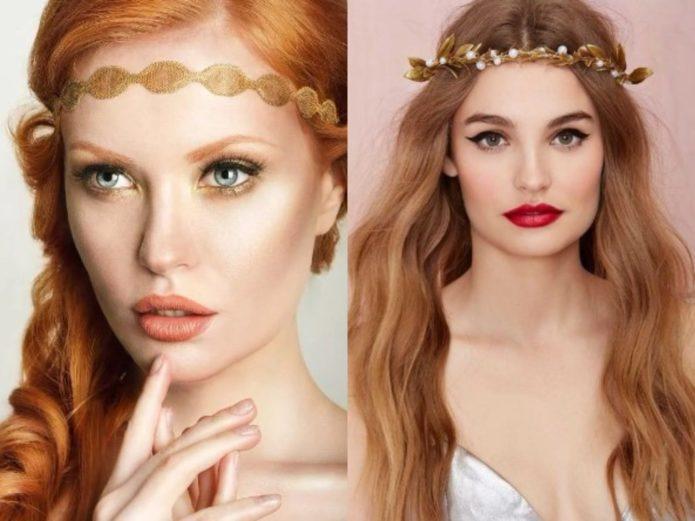 Румяна в греческом макияже