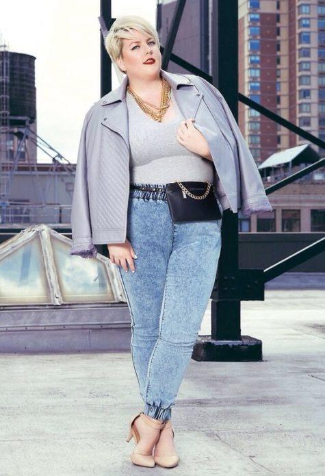 Вареные джинсы с высокой посадкой для полных женщин