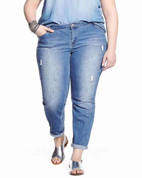 Укороченные джинсы для полных девушек