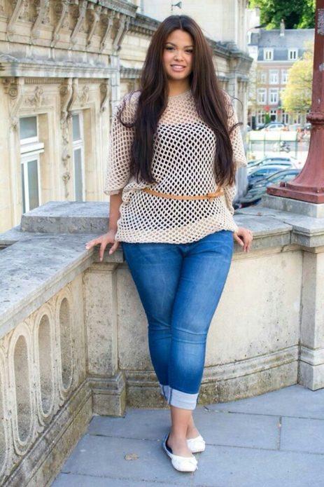 Укороченные джинсы для пышных девушек