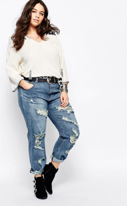 Рваные джинсы для полных женщин