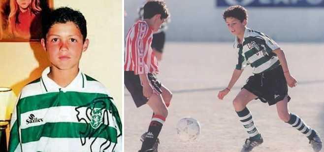 Коллажж из фото Роналду в детстве