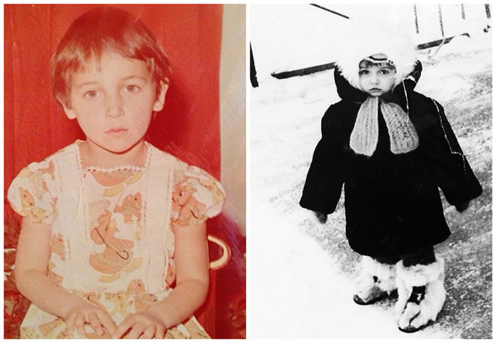 Коллаж из двух фото Алсу в детстве