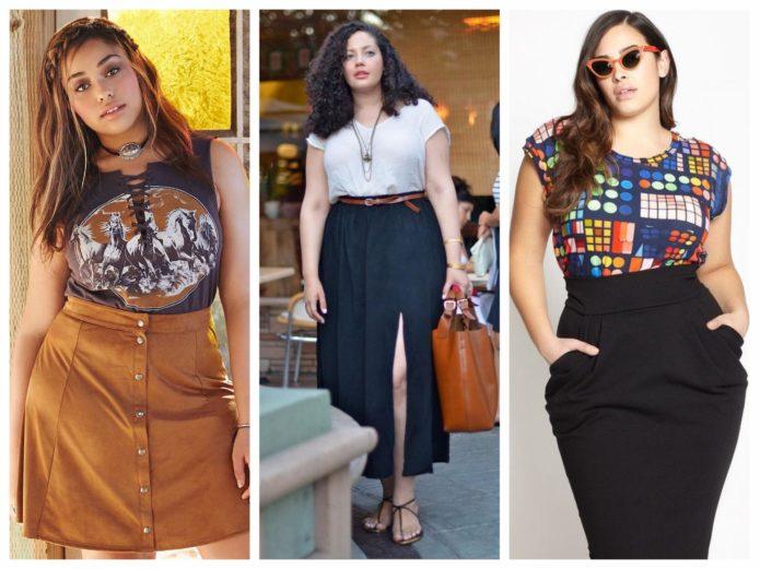 Различные фасоны модных юбок для полных женщин