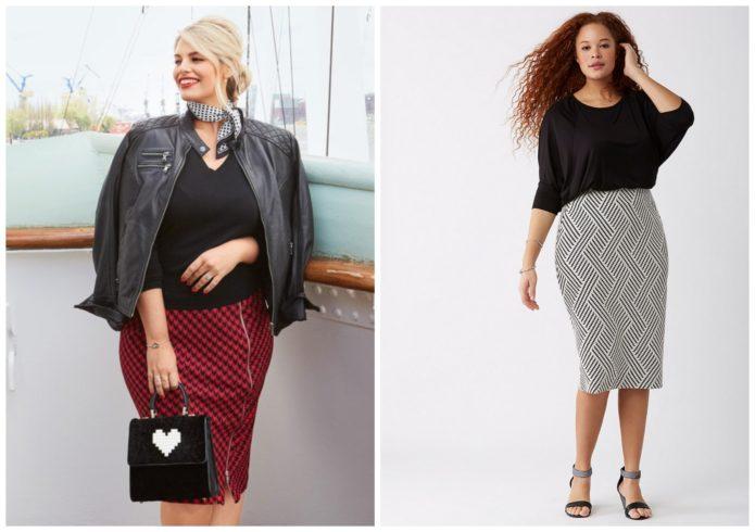 Модели юбки-карандаш с геометричским рисунком для полных женщин