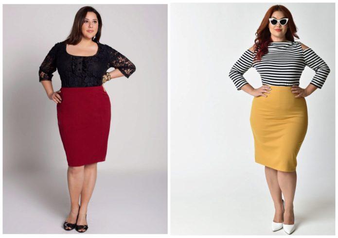 Однотонные модели юбки-карандаш для полных женщин