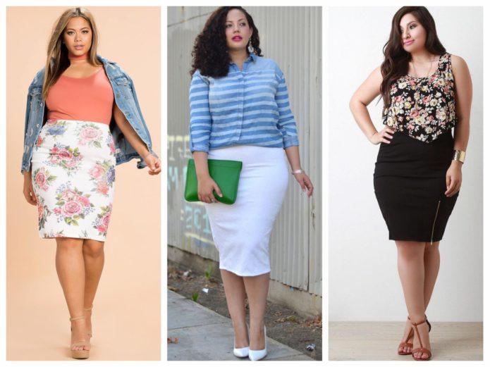 Светлые и темные модели юбки-карандаш для полных женщин